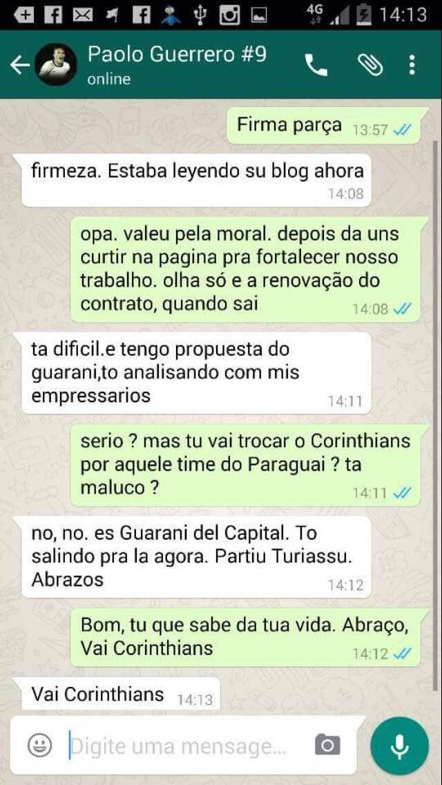Print Paolo Guerrero Whatsapp