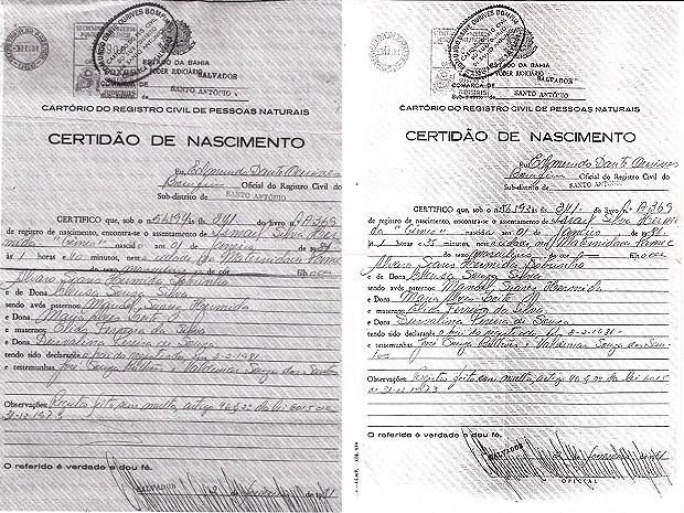 Certidão de nascimento dos irmãos Israel e Ismael. (Foto: Arquivo Pessoal)