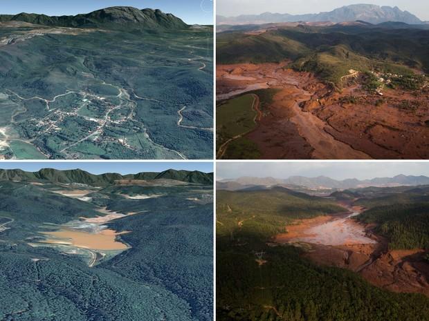 Combinação de fotos mostra dois locais da barragem em Bento Rodrigues, no interior de Minas Gerais. Do lado esquerdo é possível ver como era antes do rompimento da barragem, e do lado direito como ficou depois da enchente (Foto: Felipe Dana/AP; Reprodução/Google Earth)