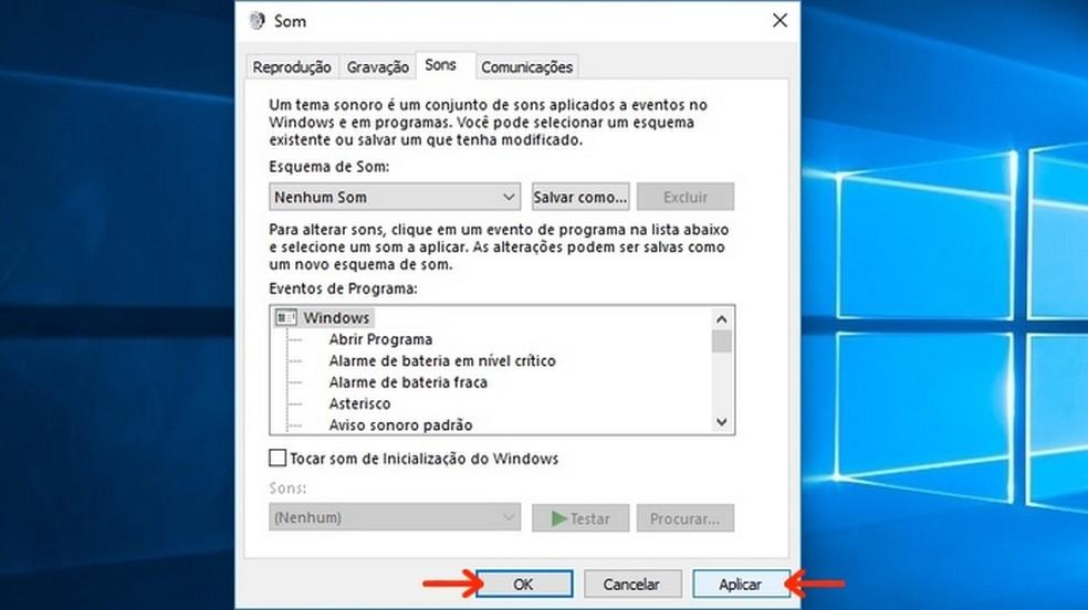 Aplicação do esquema sem som para ações do Windows (Foto: Reprodução/Raquel Freire)