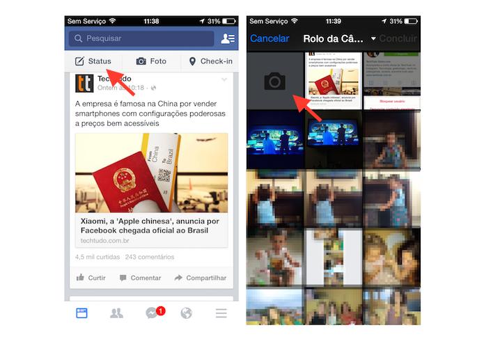 Iniciando a câmera de um dispositivo iOS a partir da ferramenta de atualização de status do Facebook (Foto: Reprodução/Marvin Costa)