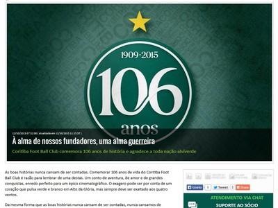 Coritiba comemora aniversário de 106 anos (Foto: Site oficial do Coritiba/Divulgação)