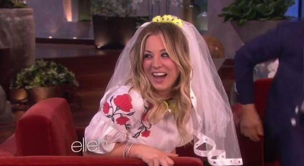 Kaley Cuoco no programa da Ellen  (Foto: Video/Reprodução)