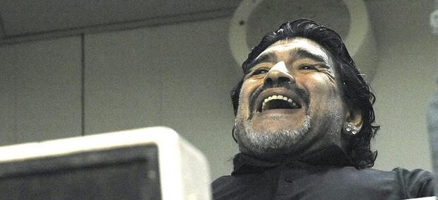 Maradona na torcida do Boca Juniors Libertadores Corinthians (Foto: Marcos Ribolli / Globoesporte.com)