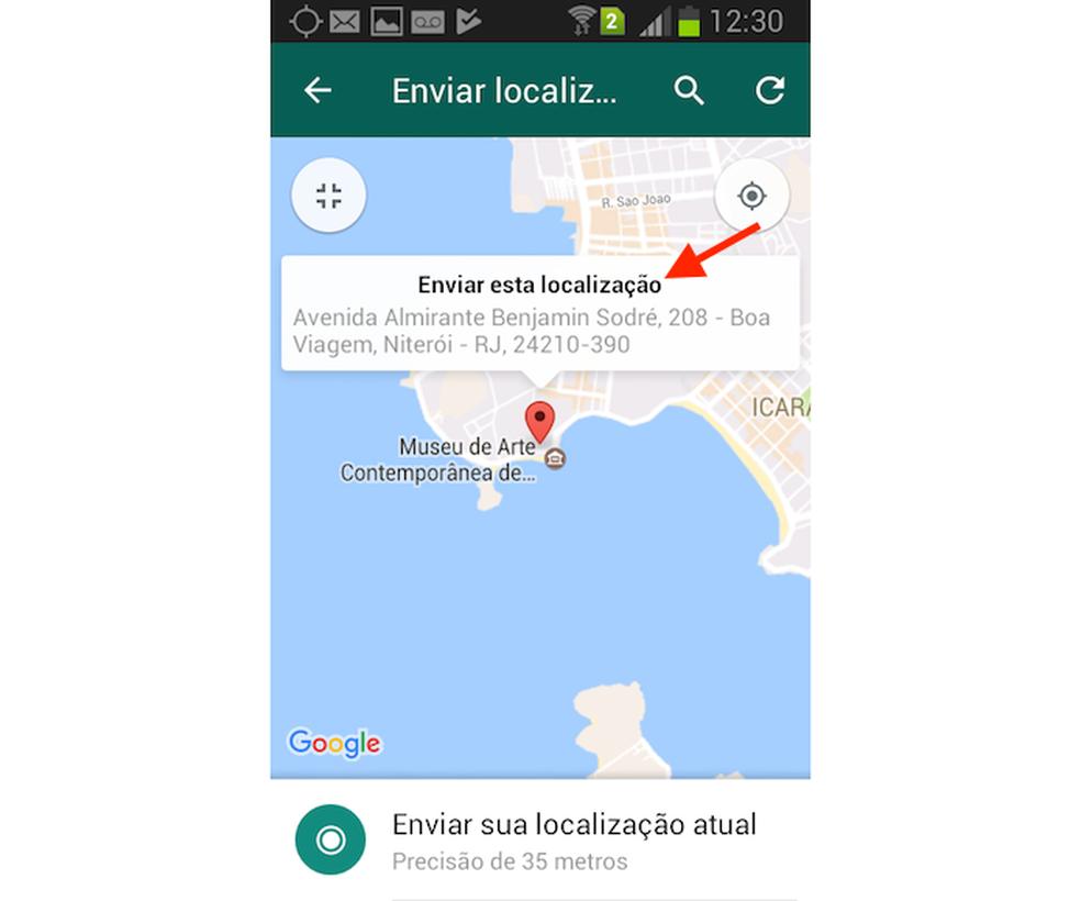 Opção para compartilhar uma localização qualquer com o mapa do WhatsApp para Android (Foto: Reprodução/Marvin Costa)