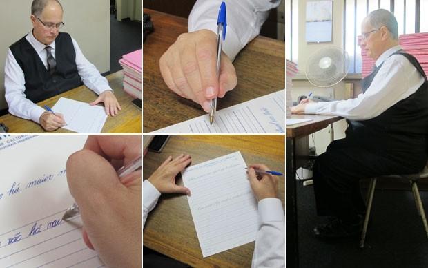 Professor Antonio De Franco ensina o método para escrever corretamente, com a folha em diagonal, a caneta entre os dedos polegar, médio e indicador, letra levemente tombada à direita e uma postura correta na cadeira para não se cansar (Foto: Paulo Guilherme/G1)