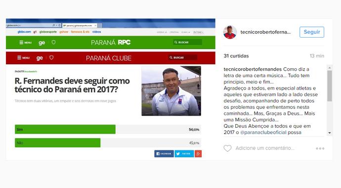 Roberto Fernandes, Paraná Clube (Foto: Reprodução/Instagram)