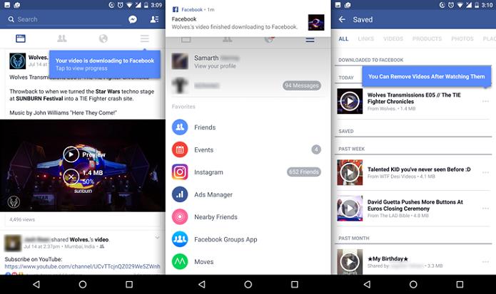 Salvar vídeos no Facebook permite reproduzi-los no aplicativo sem Internet (Foto: Reprodução/Android Police)