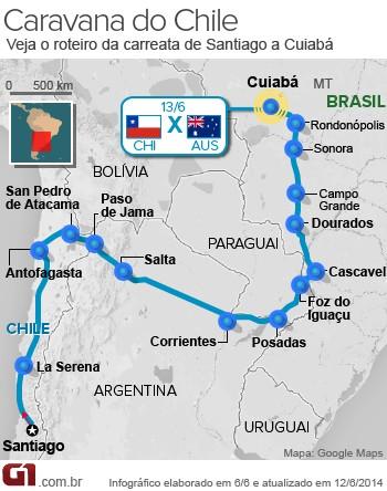 mapa caravana chile cuiabá