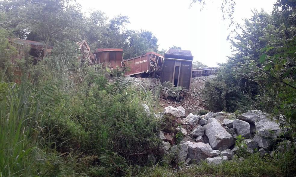 Locomotiva descarrilou em Ribeirão Vermelho, MG, na manhã deste sábado (15) (Foto: Antônio Carlos)