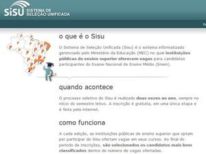 Site do Sisu (Foto: Reprodução/Inep)