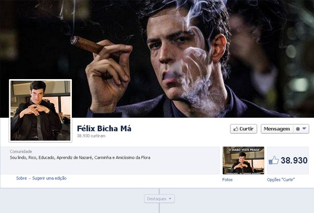 """O FACEBOOK CONTABILIZA QUASE 40 PÁGINAS, ENTRE PERFIS E FANGES, EM HOMENAGEM A FÉLIX KHOURY. A MAIS CURTIDA ATÉ AGORA É """"FÉLIX BICHA MÁ"""" (Foto: Reprodução/Facebook)"""