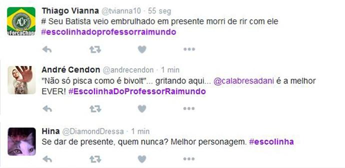 Usuários no Twitter comentam a Escolinha (Foto: Reprodução / Internet)