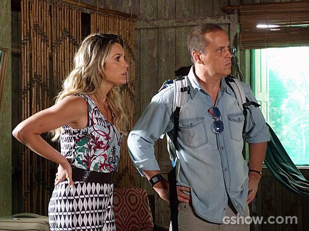 Heloísa e Flávio se assustam, mas não deistem de procurar pistas sobre os filhos (Foto: Além do Horizonte/TV Globo)