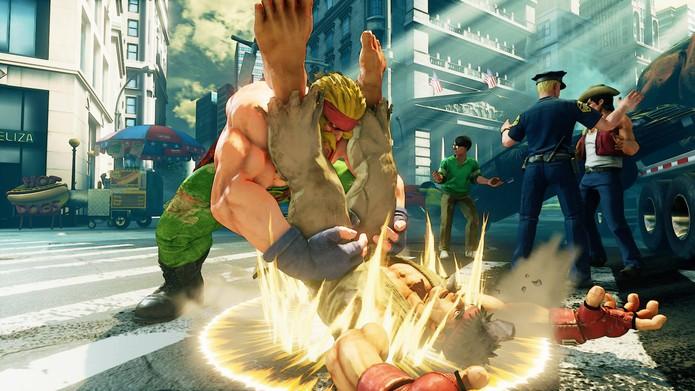 Street Fighter 5: Alex agarra Ryu com seu Power Bomb (Divulgação/Capcom)