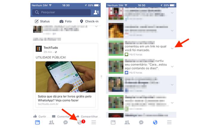 Acessando as opções para uma notificação do Facebook pelo aplicativo para iPhone (Foto: Reprodução/Marvin Costa)