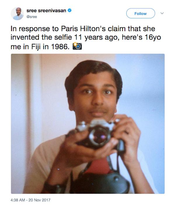 Um usuário do Twitter fazendo piada com a declração de Paris Hilton de que teria inventado a selfie (Foto: Twitter)