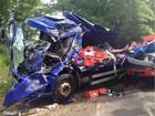 Acidente entre três caminhões deixa homem gravemente ferido em Indiana
