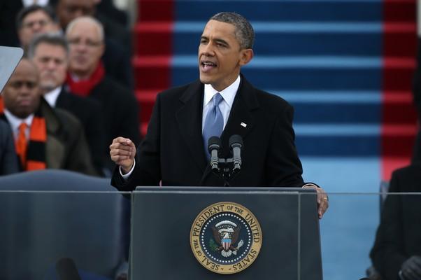 Obama discursa em frente ao Capitólio, em Washington  (Foto: Justin Sullivan/Getty Images)