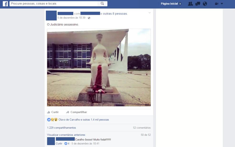 Publicação em rede social mostra ato que manchou estátua do STF, na última segunda (Foto: Facebook/Reprodução)