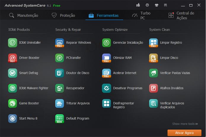 Contando os recursos pagos, Advanced SystemCare possui 30 opções extras de manutenção (Foto: Reprodução/Advanced SystemCare)