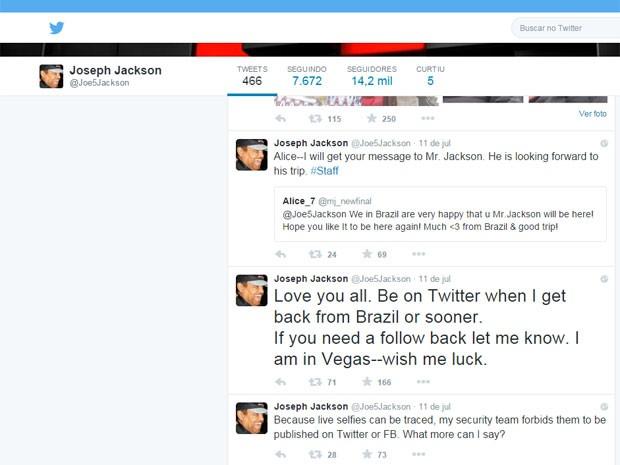 Joe Jackson anunciou que virá ao Brasil em sua página pessoal no Twitter (Foto: Reprodução/Arquivo Pessoal)