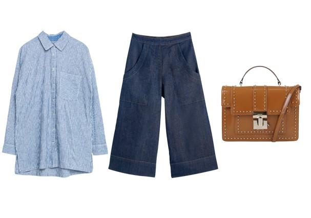 Pantacourt jeans pra trabalhar | Camisa  Zara, 169 + Calça Dress To, R$ 259 + Bolsa Schutz, R$ 590 (Foto:  Rafael Evangelista / Divulgação)