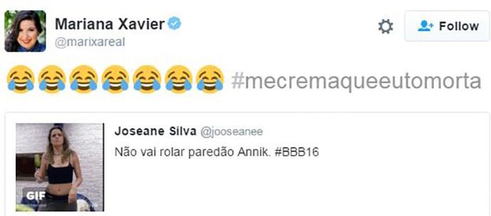 Mariana Xavier se diverte com gif de Ana Paula sambando e vibra Paredão sem Anik (Foto: Reprodução Internet)