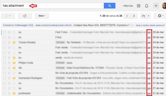 Busca por e-mails com anexo no Gmail (Foto: Reprodução/ Marcela Vaz)