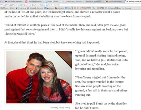 Jensen e o namorado Jon, que teria levado um tipo para salvá-la (Foto: Reprodução, site NBC)