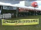 Manifestantes acampam em frente à Petrobras contra leilão de Libra