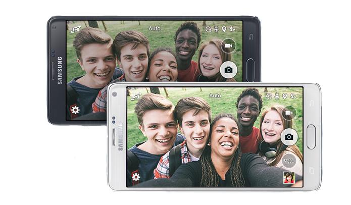 Note 4 traz câmera frontal avançada de 3,7 megapixels e modo selfie (Foto: Divulgação)