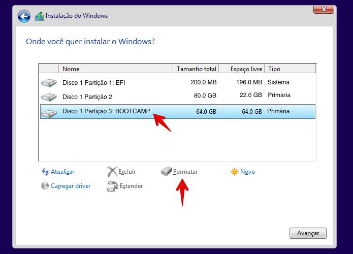 Formate a partição do Boot Camp para instalar o Windows (Foto: Reprodução/Helito Bijora)