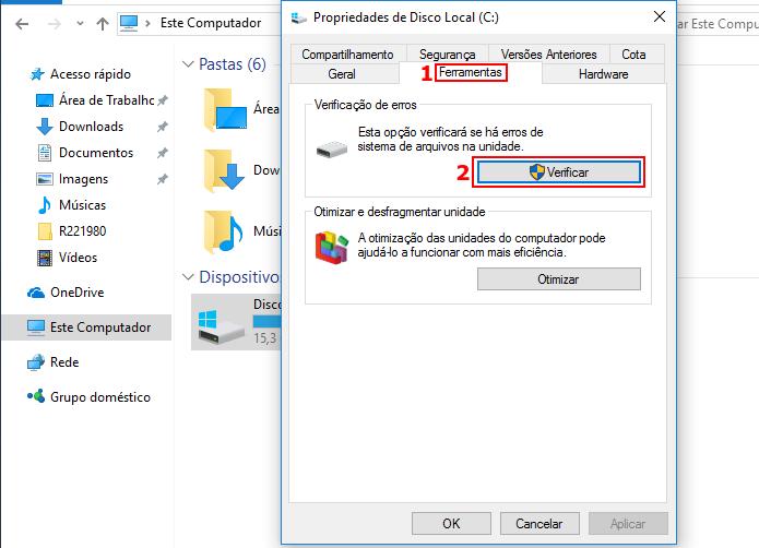 Iniciando a ferramenta de verificação de disco do Windows (Foto: Reprodução/Edivaldo Brito)