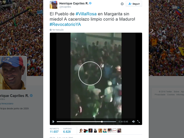 Vídeo mostra manifestantes vaiando o presidente venezuelano Nicolás Maduro na sexta (2) (Foto: Reprodução/Twitter)
