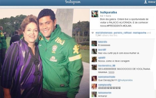 Após encontro, Hulk posta foto com a presidente (Foto: Reprodução / Instagram)