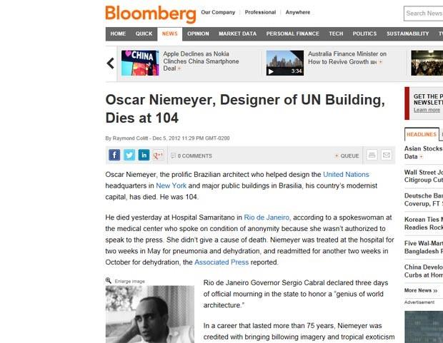 A agência Bloomberg lembrou o fato de Niemeyer ter projetado o quartel-general da ONU, em Nova York, e Brasília, 'a capital modernista de seu país' (Foto: Reprodução)