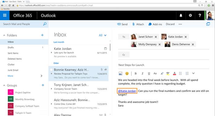 Ferramenta de menções permite marcar contatos em e-mails (Foto: Divulgação/Microsoft)
