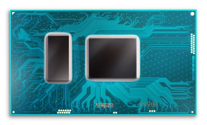 Na foto, um processador para notebooks de sétima geração: o retângulo à esquerda é o chipset, o outro é o processador/GPU em si (Foto: Divulgação/Intel)