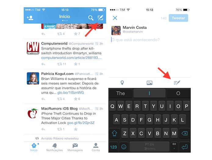 Acessando a lista de rascunhos do Twitter para iOS (Foto: Reprodução/Marvin Costa)