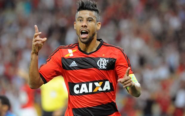 Léo Moura gol Flamengo x Santos (Foto: Alexandre Vidal / Flaimagem)