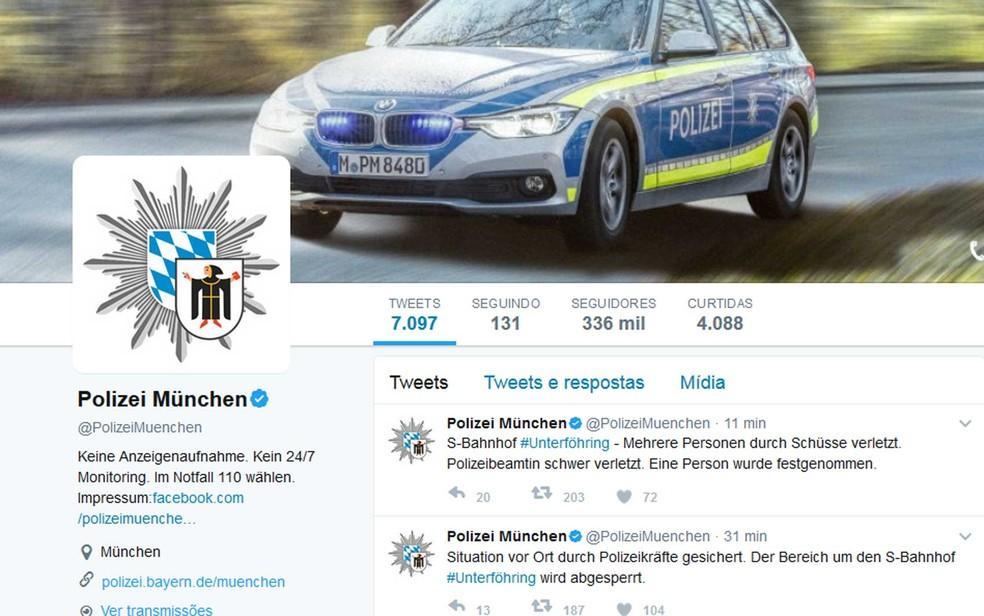 Twitter da polícia alemã informa sobre feridos em tiroteio em Munique (Foto:  Reprodução / Polizei München / Twitter)