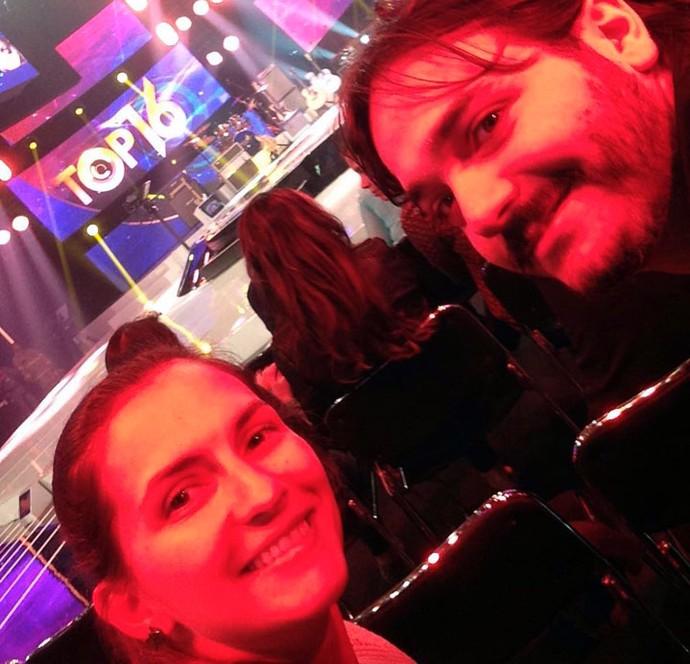 Fernanda e Matheus fizeram selfie nos bastidores do SuperStar (Foto: Arquivo pessoal)
