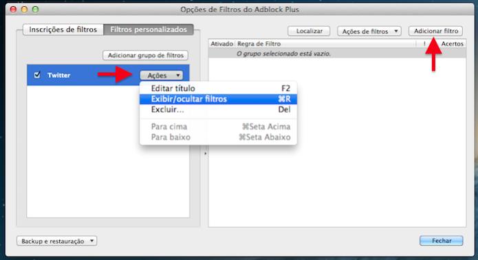 Configurando novo filtro no Firefox  (Foto: Reprodução/Helito Bijora)