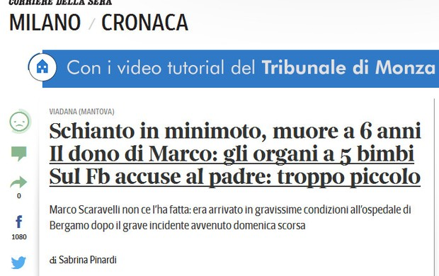 BLOG: MM Notícias Tristes - Morte de minipiloto de seis anos abala a Itália...