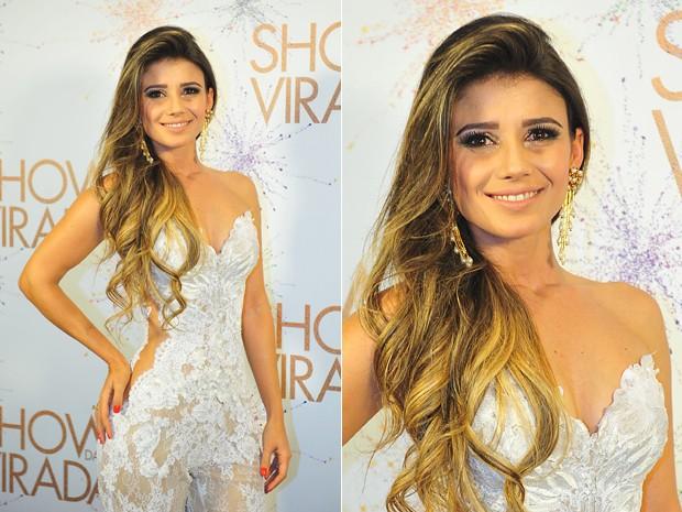 Paula Fernandes investe no look romântico (Foto: Reinaldo Marques/TV Globo)