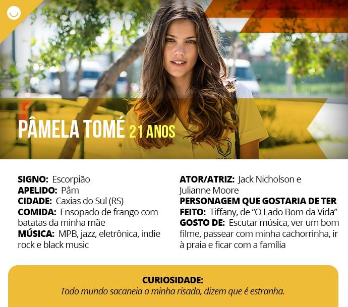 Card com informações curiosas de Pâmela Tomé (Foto: Gshow)