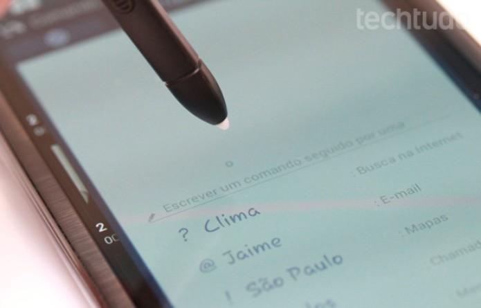 Note 2 e atalhos para a S Pen (Foto: Allan Melo/TechTudo)