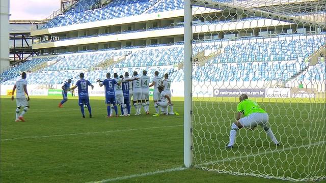379d95f6df  p  Sandro cobra falta e Henal salta para salvar a defesa. Escanteio para