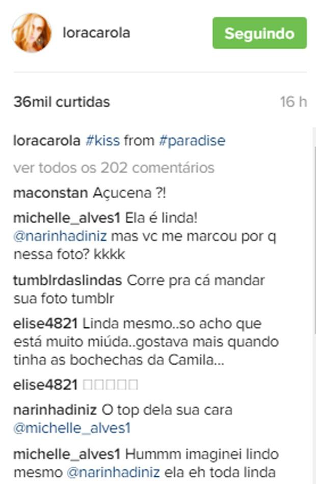 Seguidores lembraram trabalho de Carolina Dieckmann em 'Tropicaliente' (Foto: Reprodução/Instagram)